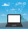 laptop social media icons city bakcground vector image vector image