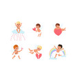 lovely cupid characters set adorable baangels vector image vector image