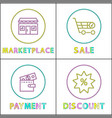 marketplace and payment poster vector image vector image