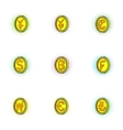 Money icons set pop-art style vector image vector image