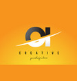oi o i letter modern logo design with yellow vector image vector image