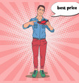 pop art smiling man advertising new sport shoes vector image vector image