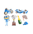 professional race driver with equipment set vector image