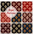 Royal fleur-de-lis floral seamless patterns set vector image vector image