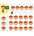 schoolboy parts of body template for animation vector image vector image