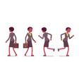 set of female teacher walking and running rear vector image vector image