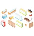 Set of Supermarket Furniture and Equipment vector image vector image