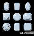 set of white gems diamond of various shapes vector image vector image