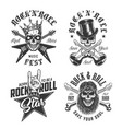 set rock and roll emblems vector image vector image