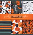 set six halloween seamless patterns vector image