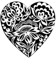 silhouette of the heart and flowers on it Black-an vector image