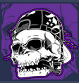 skull wearing hat smoking cigar vector image