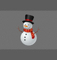 snowman wearing hat and scarf smile isolate