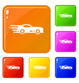 sport car icons set color vector image vector image