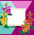 spring and summer golden floral frame with flowers vector image vector image