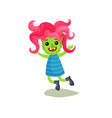 sweet happy girl troll with pink hair and green vector image