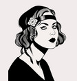 women hairstyle fashion retro 20 - 30s years vector image