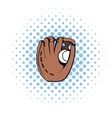 Baseball glove icon comics style vector image vector image