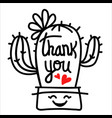 cactus thank you outline black isolated on white vector image vector image