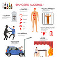 cartoon alcoholism infographics concept card vector image