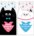 cat family couple holding blue pink heart shape vector image vector image