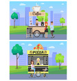 coffee pizza stalls collection vector image vector image