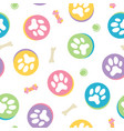 colorful pastel dow paw print seamless pattern vector image