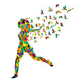 colorful silhouette young woman jumping vector image vector image