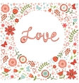 Concept love card with floral heart and vector image