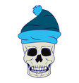 cool skull with winter hat cartoon isolated blue vector image vector image