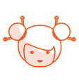 cute little japanese doll head vector image vector image