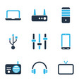 device icons colored set with router headphone vector image vector image