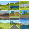 different natural summer landscapes set scenes of vector image