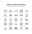 Event supplies flat line icons party equipment vector image