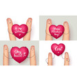 fingers holding hearts with romantic inscriptions vector image