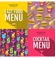 Flat fast food menu typography design vector image vector image