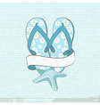 flip flops starfish and banner vector image vector image