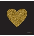 Gold glitter heart on white background vector image