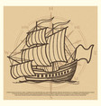 grunge travel background with antique ship vector image vector image