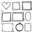 hand drawn set simple frame and border vector image vector image