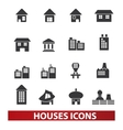 houses building icons set vector image vector image