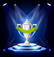 illuminated sport cup on podium - winner award vector image vector image