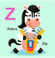 isolated animal alphabet letter z-zip zebra vector image vector image