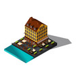 isometric 3d house by sea restaurant denmark co vector image