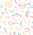 Kitchenware and cooking utensils outlined seamless vector image