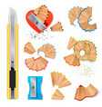 knife for pencils sharpening and shavings vector image vector image