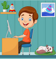 little boy working on personal computer at home vector image vector image