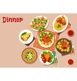 Meat dishes with appetizers icon food theme design vector image vector image
