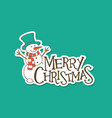 merry christmas lettering with a snowman sticker vector image vector image