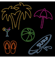 Neon Beach Icons vector image vector image